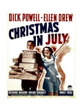 CHRISTMAS IN JULY, from left: Dick Powell, Ellen Drew on window card, 1940 Prints