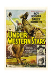 UNDER WESTERN STARS, left: Roy Rogers, right from top: Smiley Burnette, Carol Hughes, 1938. Prints
