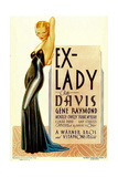 EX-LADY, Bette Davis on midget window card, 1933 Art