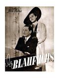 The Blue Fox, (aka Der Blaufuchs), German poster, Willy Birgel, Zarah Leander, 1938 Print
