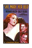SHE MADE HER BED, US poster, from top: Sally Eilers, Richard Arlen, Robert Armstrong, 1934 Poster