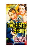 TWO-FISTED SHERIFF, l-r: Charles Starrett, Barbara Weeks on poster art, 1937. Posters