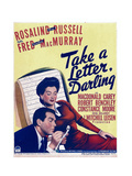 TAKE A LETTER, DARLING, from left: Fred MacMurray, Rosalind Russell on window card, 1942. Posters