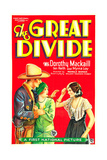 THE GREAT DIVIDE, US poster art, from left: Ian Keith, Dorothy Mackaill, Myrna Loy, 1929 Posters