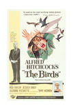 THE BIRDS, from left, Alfred Hitchcock, Jessica Tandy (illustration), Tippi Hedren, 1963 Poster