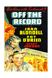 OFF THE RECORD, US poster art, left from top: Bobby Jordan, Joan Blondell, Pat O'Brien, 1939 Posters