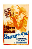BREAKFAST FOR TWO, US poster art, from left: Herbert Marshall, Barbara Stanwyck, 1937 Prints