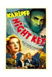 NIGHT KEY, top right: Boris Karloff, bottom from left: Jean Rogers, Warren Hull, Jean Rogers, 1937 Posters