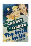 THE IRISH IN US, Pat O'Brien, Olivia de Havilland, James Cagney on window card, 1935 Poster