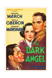 THE DARK ANGEL, from lower left: Herbert Marshall, Merle Oberon, Fredric March on poster art, 1935. Art