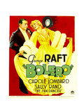 BOLERO, from left: George Raft, Carole Lombard on window card, 1934. Art
