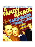 A FAMILY AFFAIR, from left, Eric Linden, Cecilia Parker, Lionel Barrymore on window card, 1937 Poster