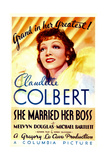 SHE MARRIED HER BOSS, Claudette Colbert on midget window card, 1935. Posters