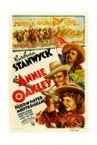 ANNIE OAKLEY, from top: Moroni Olsen, Melvyn Douglas, Barbara Stanwyck, 1935. Print