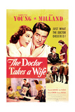 THE DOCTOR TAKES A WIFE, US poster, top from left: Loretta Young, Ray Milland, 1940 Print
