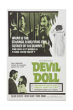 DEVIL DOLL, top and bottom l-r: Bryant Haliday, Yvonne Romain on poster art, 1964. Poster