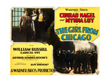 THE GIRL FROM CHICAGO, top center: Myrna Loy, top right: Conrad Nagel on lobbycard, 1927 Prints