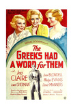THE GREEKS HAD A WORD FOR THEM, from left: Ina Claire, Joan Blondell, Madge Evans, 1932 Prints