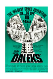 DR. WHO AND THE DALEKS, top l-r: Peter Cushing, Jennie Linden, Roberta Tovey on poster art, 1965. Poster