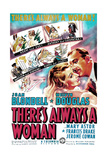 THERE'S ALWAYS A WOMAN, US poster art, from left: Joan Blondell, Melvyn Douglas, 1938 Posters