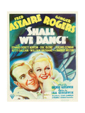 SHALL WE DANCE, from left: Fred Astaire, Ginger Rogers on window card, 1937 Poster