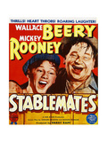 STABLEMATES, from left: Mickey Rooney, Wallace Beery on window card, 1938 Print