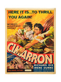 CIMARRON, l-r: Irene Dunne, Richard Dix on poster art, 1931. Prints