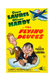 THE FLYING DEUCES, l-r: Stan Laurel, Oliver Hardy on poster art, 1939. Prints