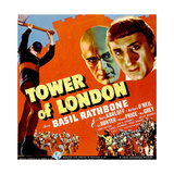 TOWER OF LONDON, top right from left: Boris Karloff, Basil Rathbone on window card, 1939. Print