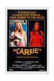 CARRIE, left and right: Sissy Spacek on U.S. poster art, 1976. Affiche