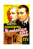 MANHATTAN LOVE SONG, US poster art, from left: Dixie Lee, Robert Armstrong, 1934 Print
