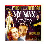MY MAN GODFREY, from left: Carole Lombard, William Powell on jumbo window card, 1936 Affiches