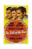 THE TALK OF THE TOWN, top from left: Cary Grant, Jean Arthur, Ronald Colman, 1942. Poster