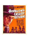 HOPALONG CASSIDY RETURNS, left: William Boyd on window card, 1936 Print