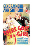 THERE GOES MY GIRL, US poster art, from left: Ann Sothern, Gene Raymond, 1937 Prints