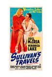 SULLIVAN'S TRAVELS, l-r: Veronica Lake, Joel McCrea on poster art, 1941. Prints