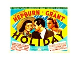HOLIDAY, from left: Katharine Hepburn, Cary Grant, Doris Nolan, 1938. Poster