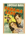 PANAMA LADY, foreground from left: Lucille Ball, Allan Lane on midget window card, 1939. Posters