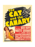 THE CAT AND THE CANARY, from left: Paulette Goddard, Bob Hope on window card, 1939. Prints