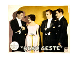 BEAU GESTE, from left: Ralph Forbes, Mary Brian, Neil Hamilton, Ronald Colman on lobbycard, 1926. Print