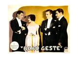 BEAU GESTE, from left: Ralph Forbes, Mary Brian, Neil Hamilton, Ronald Colman on lobbycard, 1926. Print
