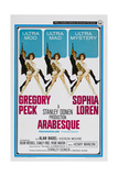 ARABESQUE, US poster, from left: Gregory Peck, Sophia Loren, 1966 Prints