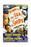 DOWN TO THE SEA IN SHIPS, US poster, left from top: Lionel Barrymore, Dean St Posters