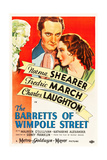 THE BARRETTS OF WIMPOLE STREET, Charles Laughton, Fredric March, Norma Shearer, 1934 Poster art Plakater