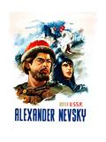 ALEXANDER NEVSKY, (aka ALEKSANDR NEVSKIY), US poster, far left: Nikolai Cherkasov, 1938 Poster