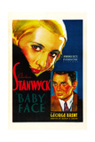 BABY FACE, poster art, from left: Barbara Stanwyck, George Brent, 1933. Prints