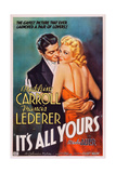 IT'S ALL YOURS, US poster, from left: Francis Lederer, Madeleine Carroll, 1937 Prints