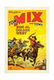 SON OF THE GOLDEN WEST, right: Tom Mix with Tony the Wonder Horse on poster art, 1928 Poster