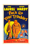 PACK UP YOUR TROUBLES, from left: Stan Laurel, Oliver Hardy on 1940s poster art, 1932. Posters