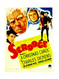 SCROOGE, second from left: Seymour Hicks on midget window card, 1935 Print